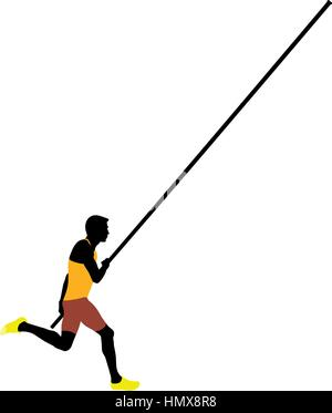 pole vault male athlete colored silhouette - Stock Photo