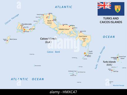 turks and caicos islands vector map with flag 2eps Stock Vector