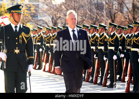 Tokyo, Japan. 4th Feb, 2017. Newly apponited U.S. Secretary of Defense James Mattis reviews the honor guards at - Stock Photo