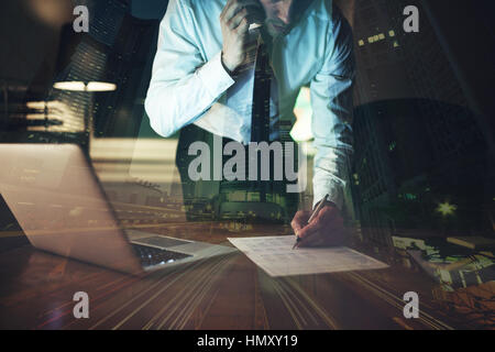 Close up business man signing contract making a deal, classic business - Stock Photo