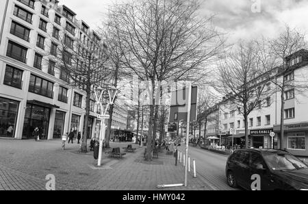 ESSEN, GERMANY - JANUARY 25, 2017: The Rüttenscheider Straße is a famous shopping street that spans over several - Stock Photo