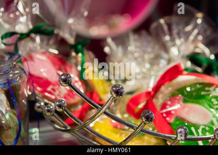 ESSEN, GERMANY - JANUARY 25, 2017: Lovely colors in a candy store attract buyers and visitors - Stock Photo