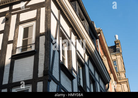 ESSEN, GERMANY - JANUARY 25, 2017: Essen-Werden is famous for its historic half-timbered houses - Stock Photo