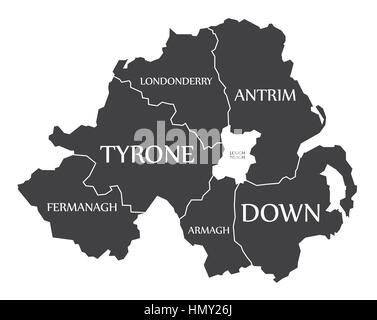 Northern Ireland Map labelled black illustration - Stock Photo