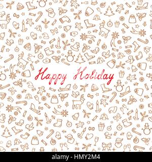 Christmas Icons Seamless Pattern. Happy Winter Holiday Wallpaper. Doodle Greeting Card with handwritten Lettering - Stock Photo