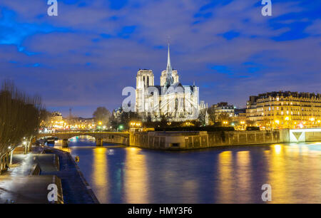 Notre Dame Cathedral at night, Paris, France. - Stock Photo
