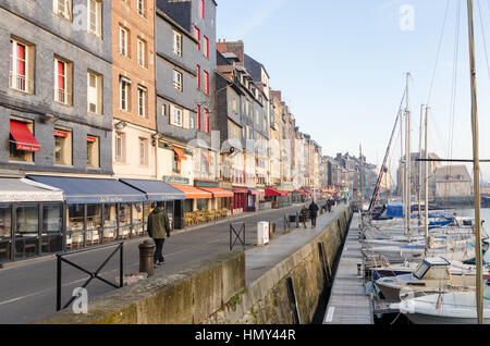 Tall narrow houses in the Vieux Bassin in the port of Honfleur, Normandy - Stock Photo