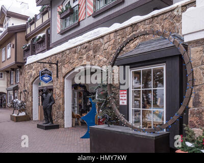 Shops in Vail Village, winter, Vail Ski Resort, Vail, Colorado. - Stock Photo