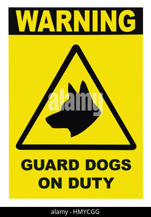 Yellow black triangle Warning Guard Dogs On Duty Text Sign Label, isolated - Stock Photo