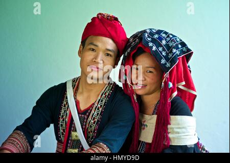 Bride and groom wearing a traditional Yao wedding Gown .Groom: Phoun Savath Bride: Many Lao - Stock Photo