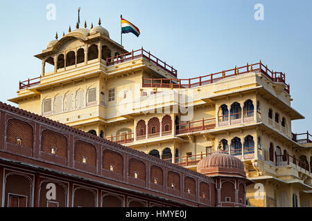 Chandra Mahal building, City Palace, Jaipur, Rajasthan, India - Stock Photo