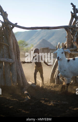 Himba boy working in a kraal - Stock Photo