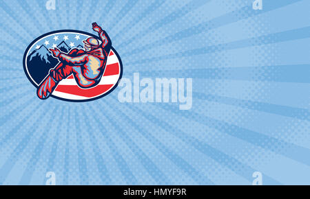 Business card showing Illustration of a snowboarding spin jumping on snowboard set inside oval with alpine alps - Stock Photo