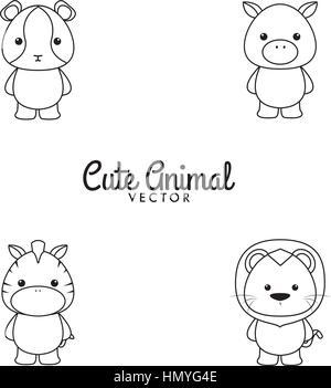 Cute Cartoon animals - Stock Photo