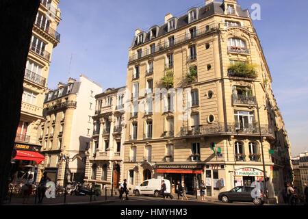 Street view of a neighborhood near Montmartre, Paris, France - Stock Photo