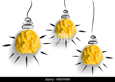 crumpled paper light bulbs shapes on white background - Stock Photo
