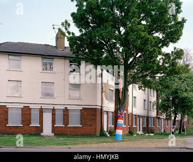 Council Housing during Wedding of Prince William and Catherine Middleton. Longlands, Bradford City Centre, West - Stock Photo