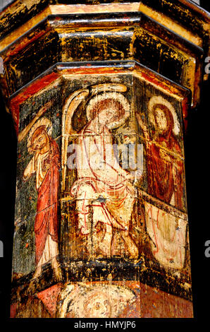 Faversham, Kent, England. St Mary of Charity parish church. Painted column (c1306) depicting scenes in the life - Stock Photo