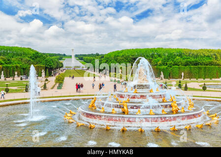 VERSAILLES, FRANCE - JULY 02, 2016 :  Latona Fountain Pool, opposite the main building of the Palace of Versailles, - Stock Photo
