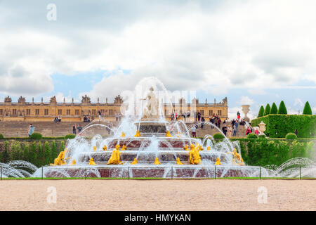 VERSAILLES, FRANCE- JULY 02, 2016 : Latona Fountain Pool, opposite the main building of the Palace of Versailles, - Stock Photo