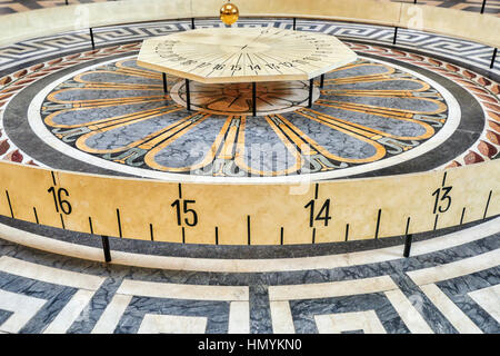 Foucault's pendulum Inside of French Mausoleum for Great People of France - the Pantheon in Paris. - Stock Photo