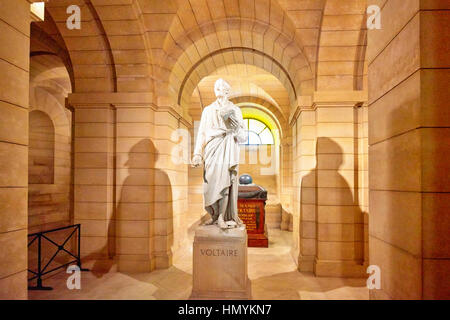 PARIS, FRANCE - JULY 05, 2016 : Statue of the great French writer - Voltaire in the basement near the Pantheon French - Stock Photo