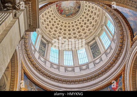 Inside, interior of French Mausoleum for Great People of France - the Pantheon in Paris. - Stock Photo