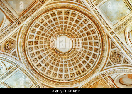 Ceiling and interior of French Mausoleum for Great People of France - the Pantheon in Paris. - Stock Photo