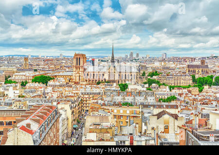 Beautiful panoramic view of Paris from the roof of the Pantheon. View on Notre Dame de Paris. - Stock Photo