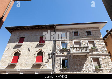 The aristocratic style of the houses of Marano Lagunare - Stock Photo