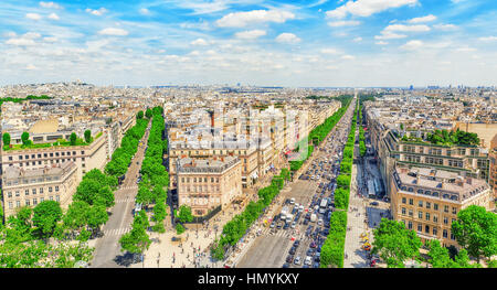 Beautiful panoramic view of Paris from the roof of the Triumphal Arch. Champs Elysees. - Stock Photo