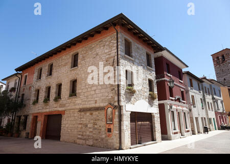 Medieval stone house in the center of Marano Lagunare - Stock Photo