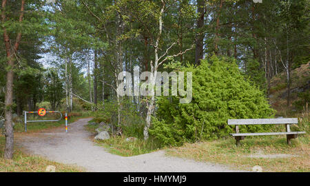 No vehicles sign and wooden seat amongst nature, Sweden, Scandinavia - Stock Photo