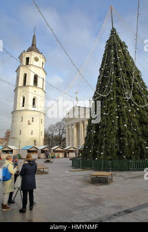 VILNIUS, LITHUANIA - DECEMBER 28, 2016: Women having a drink in front of a Christmas tree on Cathedral Square with - Stock Photo