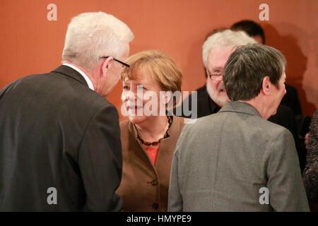 Winfried Kretschmann, BKin Angela Merkel u.a. - Treffen der dt. Bundeskanzlerin mit den Ministerpraesidenten der - Stock Photo
