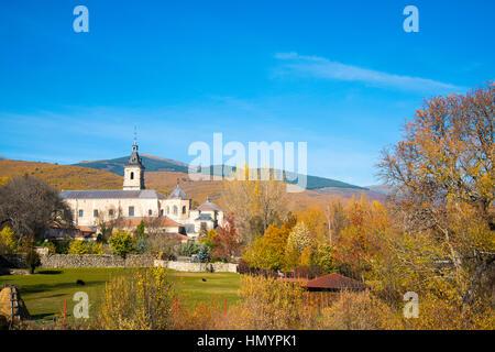 Santa Maria del Paular monastery and Autumn landscape. Rascafria, Madrid province, Spain. - Stock Photo