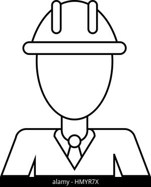 business man helmet contruction manager thin line - Stock Photo
