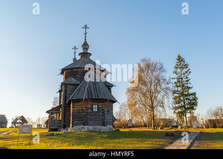 Suzdal, Russia - November 06, 2015.    Museum Wooden Architecture in  golden tourist ring - Stock Photo