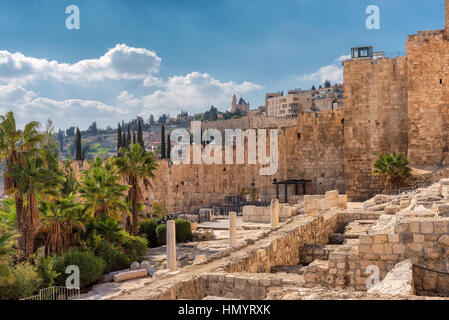 A view of ancient Jerusalem Old City from Temple Mount, Jerusalem, Israel. - Stock Photo