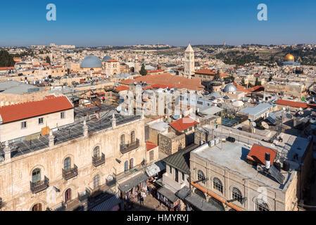 Skyline of Jerusalem Old City, Israel. - Stock Photo