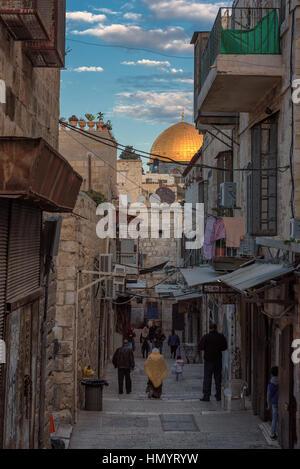 Ancient street at sunset in Jerusalem Old City, Jerusalem, Israel. - Stock Photo