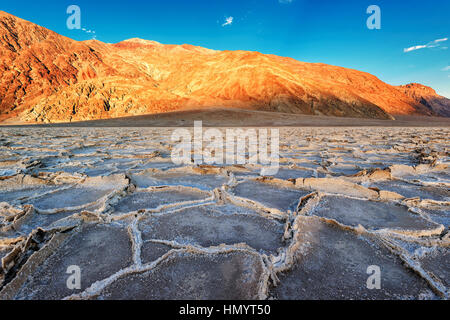 Sunset at Badwater basin, Death Valley National Park, California. - Stock Photo