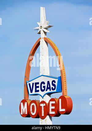 Vintage Vegas Motel Sign in Downtown Las Vegas. - Stock Photo
