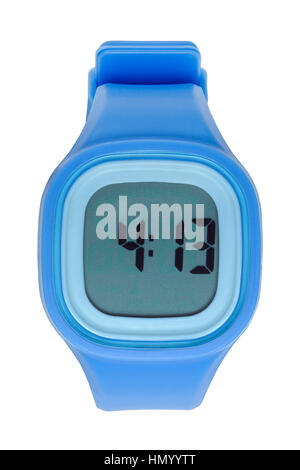 New Blue Digital Watch Cut Out on White. - Stock Photo