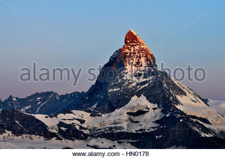 Matterhorn at sunrise, view from Gornergrat, Zermatt, Canton of Valais, Switzerland - Stock Photo