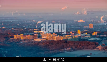 Sunrise at RUB Ruhr University, Bochum, Ruhr district, North Rhine-Westphalia, Germany - Stock Photo