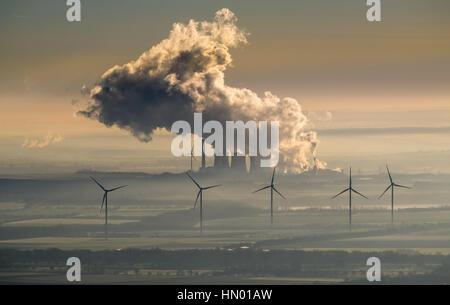 Smoke cloud from power plant Weisweiler, RWE Power AG, lignite-fired power plant and wind power plants, Eschweiler, - Stock Photo