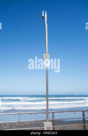 WIFI antennas on beach in Spain - Stock Photo