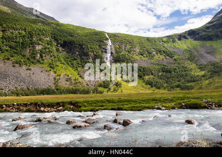 waterfall at herdalssetra mountain summer farm, møre og romsdal, norway - Stock Photo