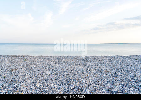 Cayeux-sur-Mer (France), shingle beach in early morning - Stock Photo
